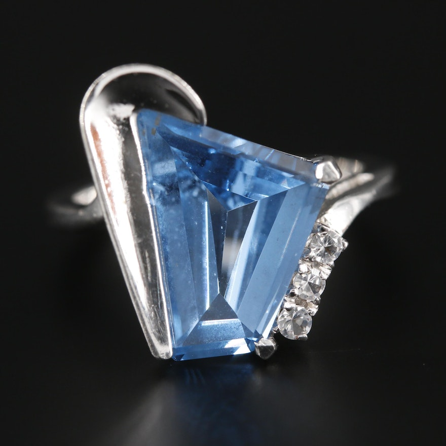 10K White Gold Spinel Bypass Ring
