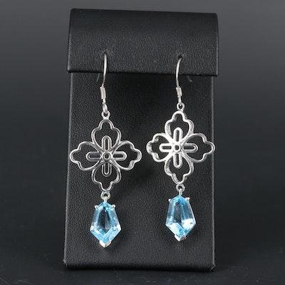 Sterling Silver Topaz Dangle Earrings