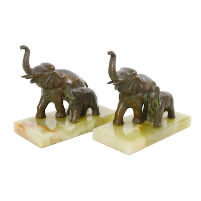 Bronze Elephant and Calf Onyx Bookends