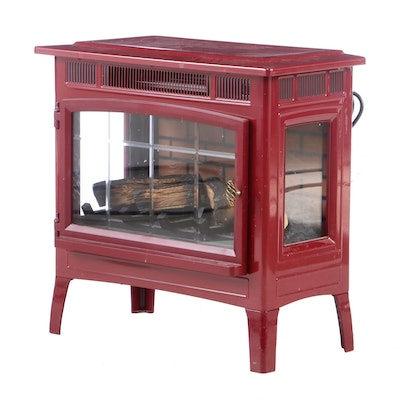 Movable Metal Electric Stove Fireplace, Contemporary