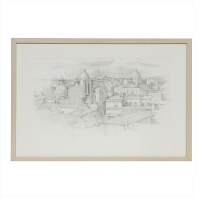 "Linda Carey Graphite Drawing ""View from the Capitoline"", 2012"