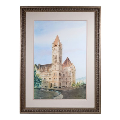 "Tom Gaither Offset Lithograph ""Cincinnati City Hall"""