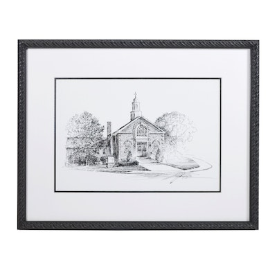 Ziah Popaja Pen and Ink of Fort Thomas First Presbyterian Church