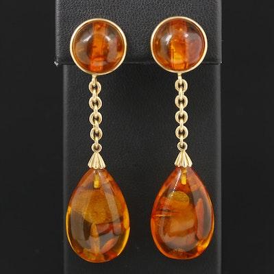 14K Yellow Gold Amber Earrings