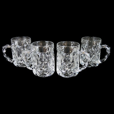"Tiffany & Co. ""Rock Cut"" Crystal Beer Mugs"