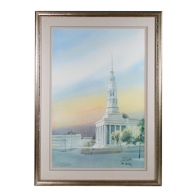 """Tom Gaither Offset Lithograph """"St. Peter In Chains Cathedral"""""""