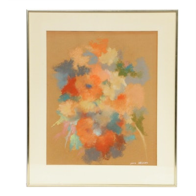 Jane Heller Floral Abstract Pastel Drawing