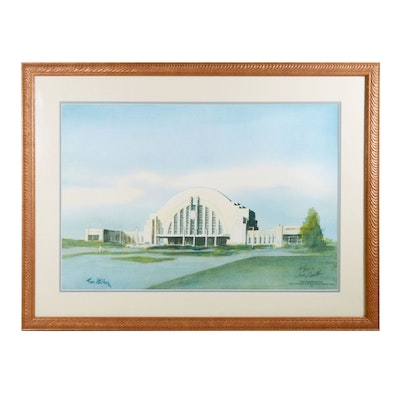 "Tom Gaither Offset Lithograph ""Union Terminal/Heritage Center"""