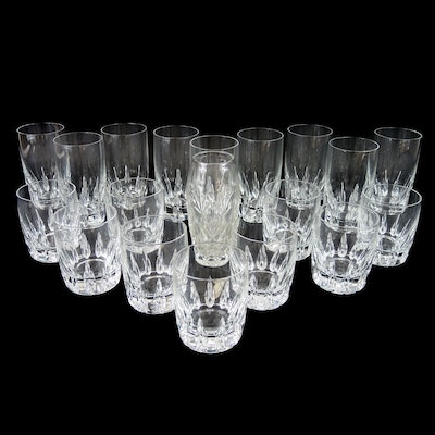 "Lenox ""Firelight"" Crystal Highball, Double Old Fashioned Glasses and Vase"