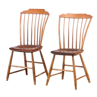 Two American Rod-Back Windsor Side Chairs, Early to Mid 19th Century