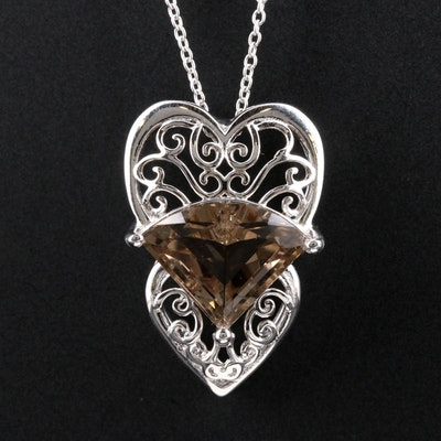 Sterling Silver Citrine Double Heart Pendant Necklace