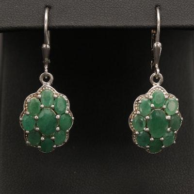 Sterling Silver Emerald Cluster Earrings