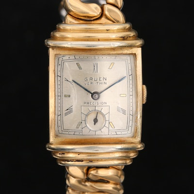 Vintage Gruen Very Thin Gold Filled Wristwatch, Early 1940's