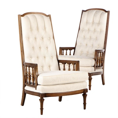 Broyhill High Back Upholstered Pecan Lounge Chairs, Mid to Late 20th Century