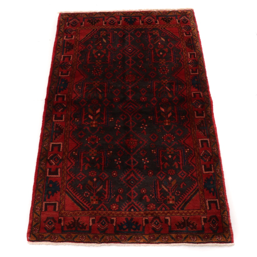 3'11 x 6'4 Hand-Knotted Persian Zanjan Rug, 1970s