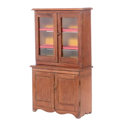 Late Victorian Poplar Child's Stepback Cupboard, Late 19th/Early 20th Century