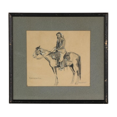 "Watercolor Painting of Native American on Horseback ""Comanche"""