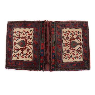 2'8 x 4'3 Hand-Knotted Persian Kurdish Saddlebags, 1930s