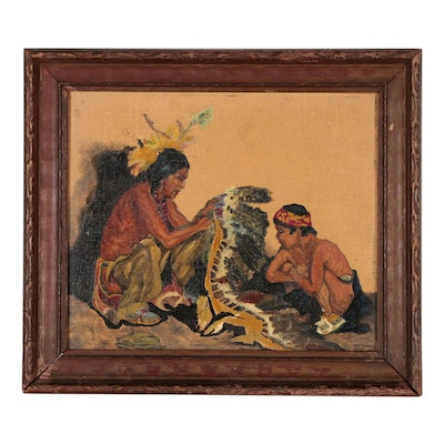 Oil Painting of Native Americans with Headdress