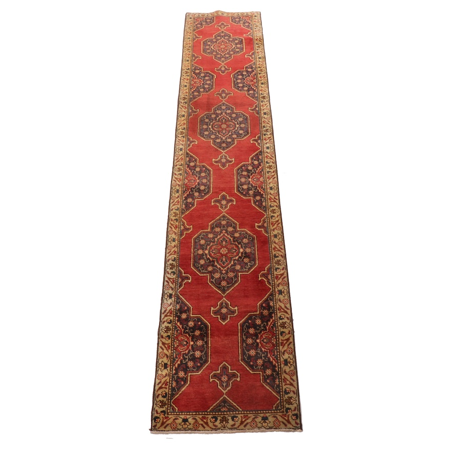 2'5 x 13'8 Hand-Knotted Persian Tabriz Carpet Runner, 1950s
