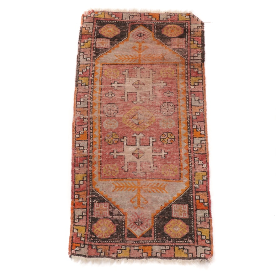 1'8 x 3'6 Hand-Knotted Turkish Village Rug, 1930s