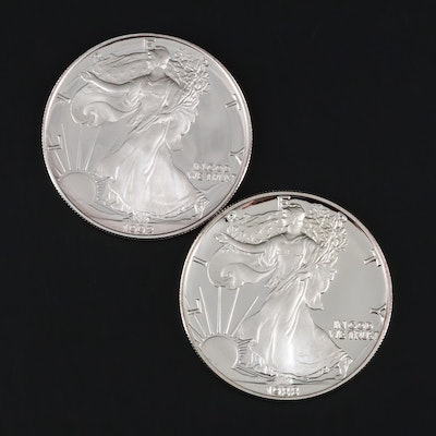 1988-S and 1992-S Proof American Silver Eagle Bullion Coins