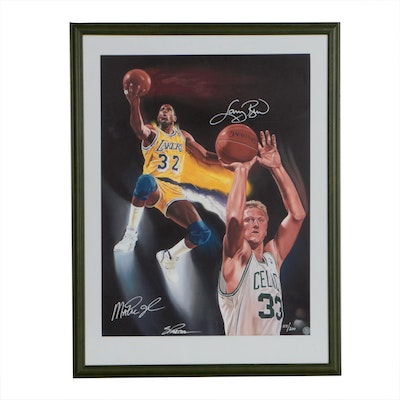 Framed Larry Bird and Magic Johnson Limited/Numbered Poster  COA