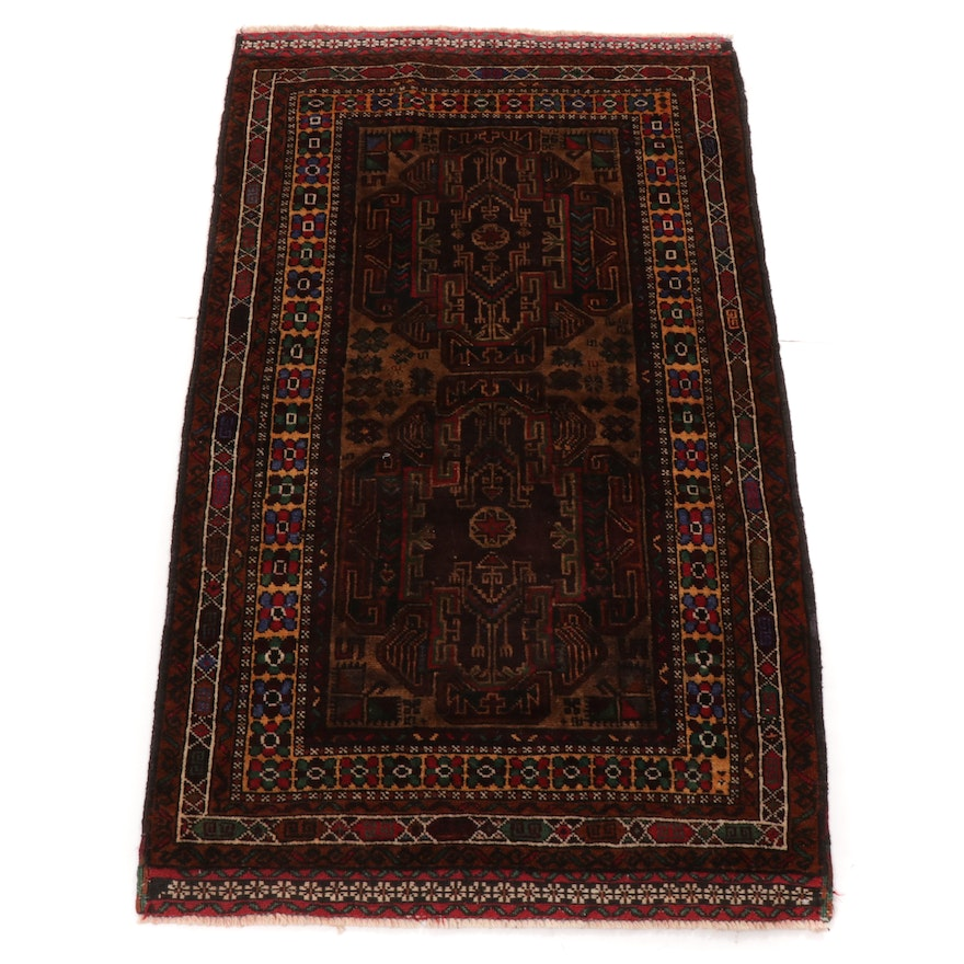2'9 x 4'8 Hand-Knotted Persian Baluch Rug, 1990s