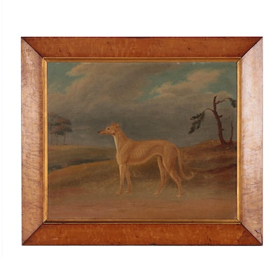 Portrait Oil Painting of Greyhound Dog