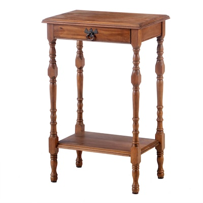 Federal Style Walnut-Stained Two-Tier Side Table