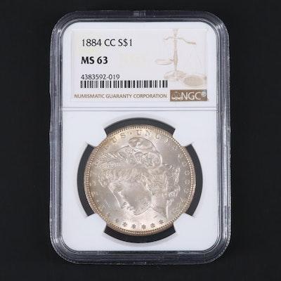 NGC Graded MS63 1884-CC Morgan Silver Dollar