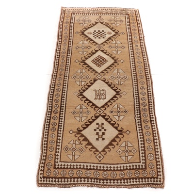 3'5 x 7'6 Hand-Knotted Persian Qashqai Shiraz Rug, 1930s