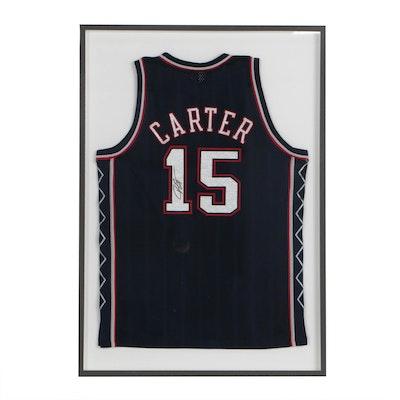 Framed Vince Carter Signed New Jersey Nets Jersey  COA