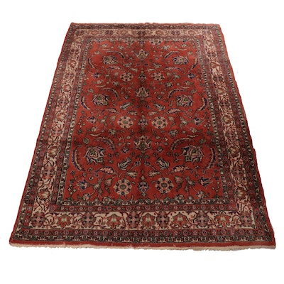 7'1 x 10'5 Hand-Knotted Turkish Oushak Rug, 1960s