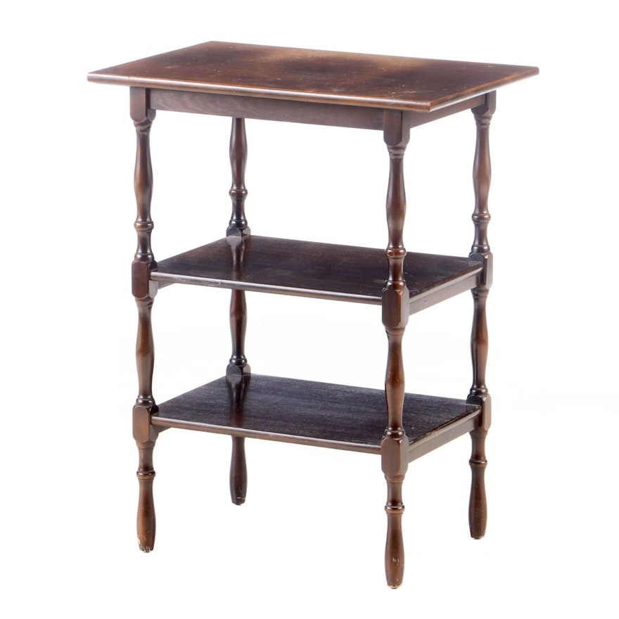 William and Mary Style Mahogany-Veneered and Stained Three-Tier Side Table