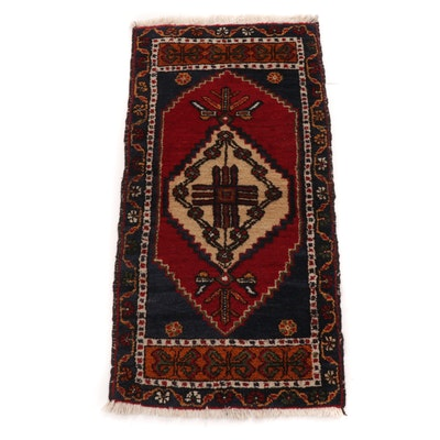 1'10 x 3'8 Hand-Knotted Turkish Village Rug, 1940s