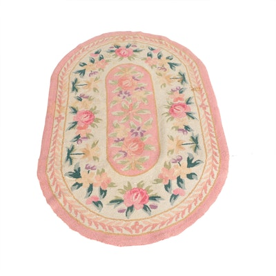 3'5 x 5'4 Hand-Hooked Floral Oval Wool Rug