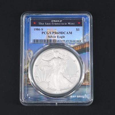 PCGS Graded PR69DCAM 1986-S American Silver Eagle Proof Bullion Coin