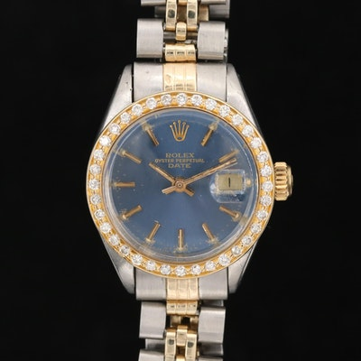 Rolex Date 18K Gold, Diamond and Stainless Steel Watch with 14K Bracelet, 1978