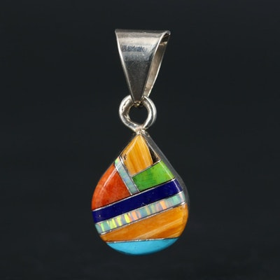 Southwestern Sterling Silver Turquoise, Spiny Oyster and Gaspeite Inlay Pendant