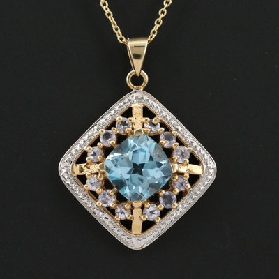 Sterling Silver Blue Topaz and Tanzanite Pendant Necklace
