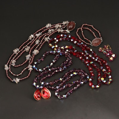 Beaded Necklaces, Bracelets and Earrings Including Labradorite and Glass Crystal