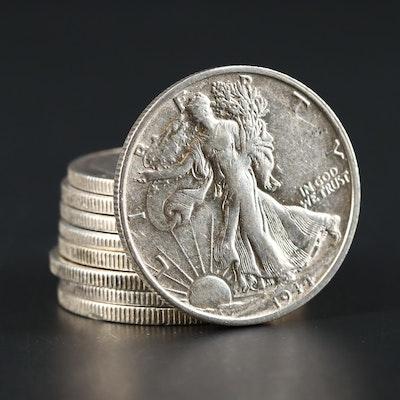 Nine Higher Grade Walking Liberty Silver Half Dollars, 1941 to 1946