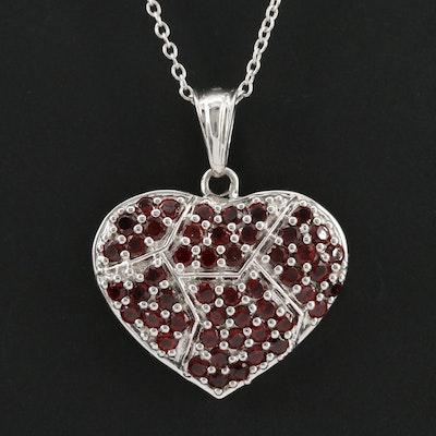 Sterling Silver Garnet Heart Pendant Necklace