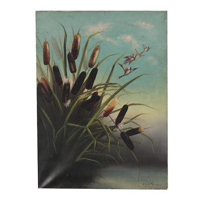 John Williamson Oil Painting of Cattails and Birds
