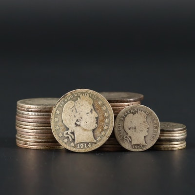 Twenty-Nine Barber Silver Quarters and Nine Barber Silver Dimes