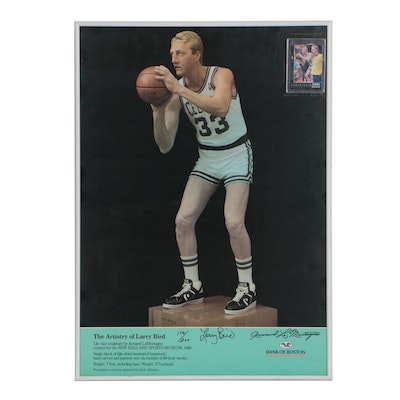 Framed Larry Bird Signed Poster with Matching Card