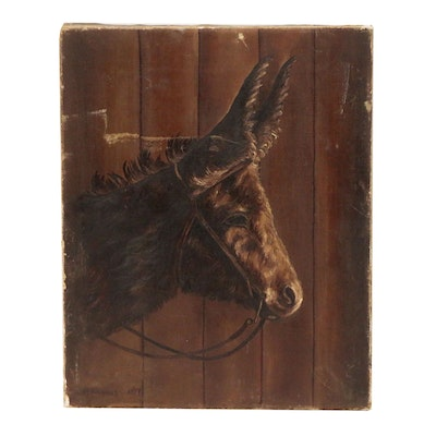 M. Tompkins Oil Painting of Donkey, 19th Century