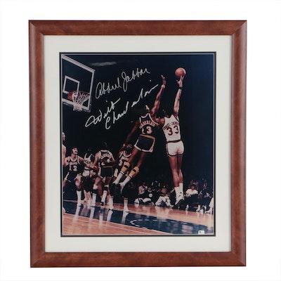 Framed Wilt Chamberlain and Kareem Abdul Jabbar Signed Action Photo Print