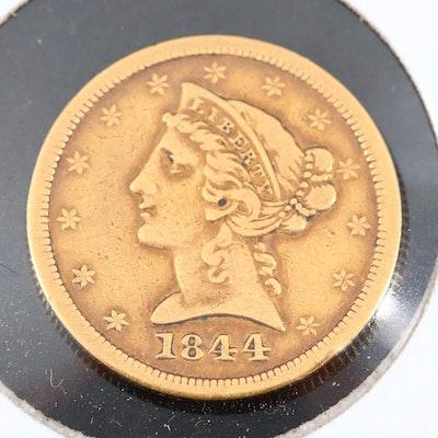 1844-O Liberty Head $5 Gold Half Eagle Coin
